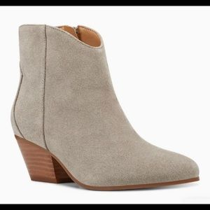 Nine West Tristan gray suede western ankle boots